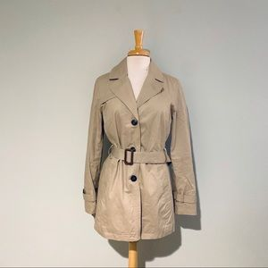 Banana Republic Khaki Belted Trench Coat Sz M